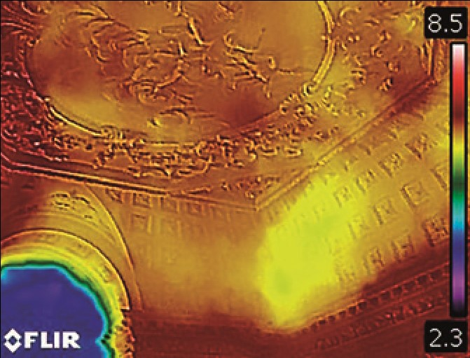 A thermal image of Lytham hall ceiling showing its surface temperature