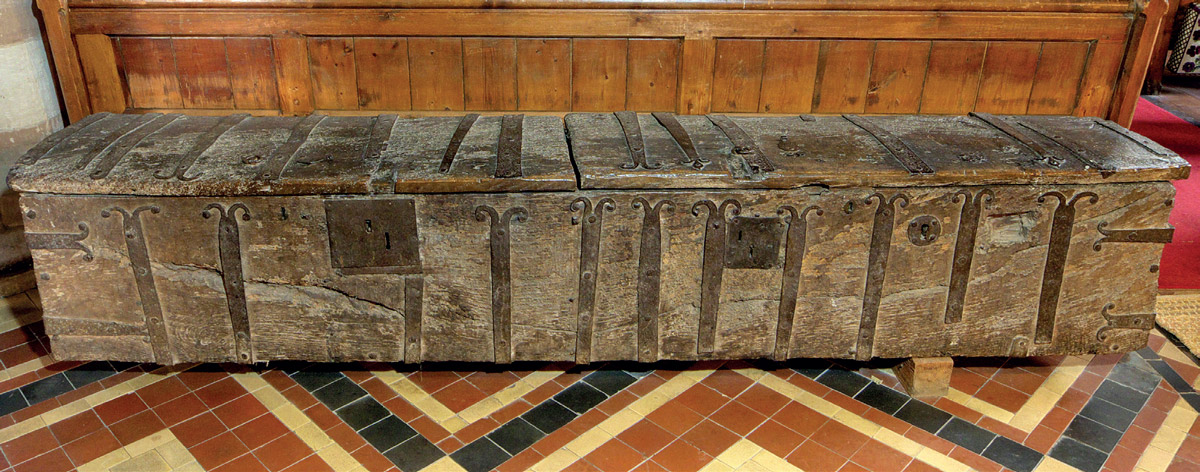 The 13th or early 14th century boarded chest at Cradley Church, Herefordshire