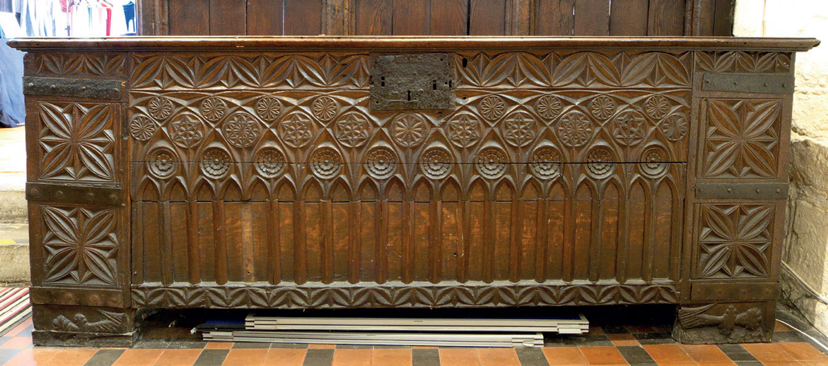 The 14th century clamped chest at All Saints, Hereford, Herefordshire