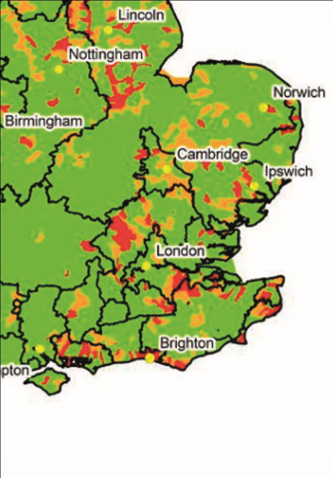 A colour-coded map of water body stress levels in South East England, provided by the Environment Agency